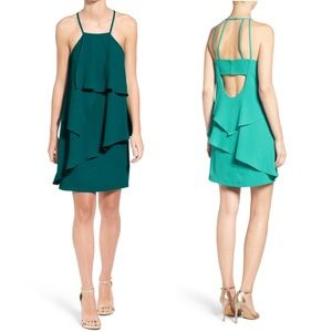 Adelyn Rae Strappy Back Layered Dress Pine Green M